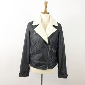 JACK Sherpa & Vegan Leather Moto Jacket